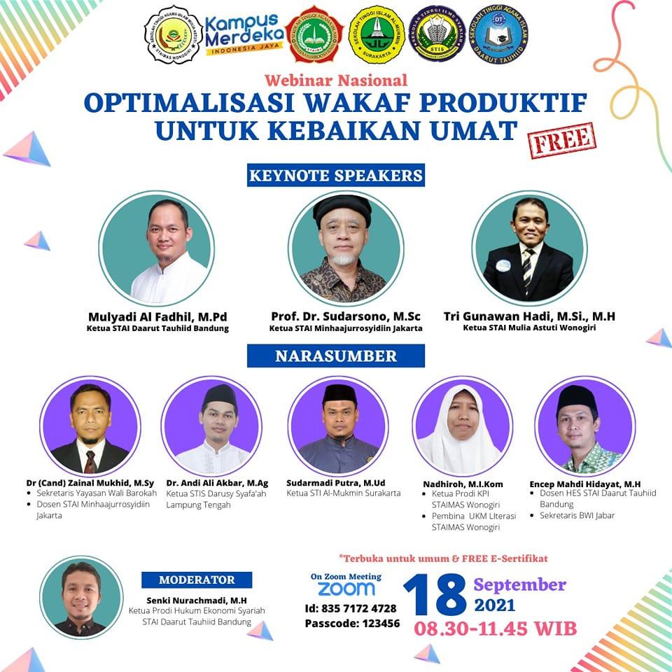 Webinar Nasional Optimalisasi Wakaf Produktif untuk Kebaikan Umat, Ketua STISDA Lampung Tengah Turut Menjadi Pembicara